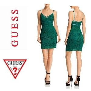 NWT GUESS Jojo Green Lace Bodycon Mini Dress